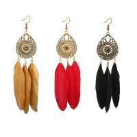 Mode-Feder-Ohrring, Zinklegierung, goldfarben plattiert, für Frau, keine, frei von Nickel, Blei & Kadmium, 30x110mm, verkauft von Paar