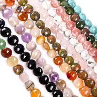 Mischedelstein Perlen, Edelstein, flache Runde, DIY & verschiedenen Materialien für die Wahl, keine, 12x12x6mm, 33PCs/Strang, verkauft von Strang