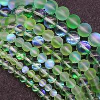 Runde Kristallperlen, Mondstein, DIY & verschiedene Größen vorhanden, grün, verkauft per ca. 15 ZollInch Strang