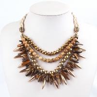 Mode Statement Halskette, Naturstein, für Frau, gelb, 45+5cm, verkauft von PC
