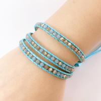 Wrap Armband , Lederband, mit Kristall & Zinklegierung, unisex, blau, 610mm, verkauft von PC