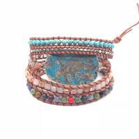 Wrap Armband , Lederband, mit Naturstein & Zinklegierung, unisex, keine, 950mm, verkauft von PC