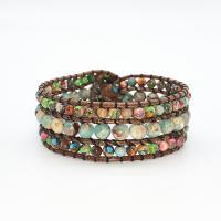 Wrap Armband , Lederband, mit Impression Jaspis & Zinklegierung, unisex, gemischte Farben, 200mm, verkauft von PC