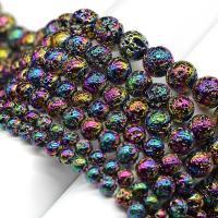 Natürliche Lava Perlen, rund, AB Farben plattiert, DIY & verschiedene Größen vorhanden, verkauft von Strang