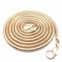 Eisen Halsketten, goldfarben plattiert, Schlangekette, frei von Nickel, Blei & Kadmium, 4mm, verkauft per ca. 47.2 ZollInch Strang