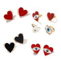Evil Eye Ohrringe, Legierung, mit Emaille, Herz, keine, frei von Nickel, Blei & Kadmium, 25x28mm, 1/Tasche, verkauft von Tasche