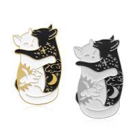 Zinklegierung Broschen, Katze, plattiert, für Frau & Emaille, schwarz, 80x130mm, 10PCs/Menge, verkauft von Menge