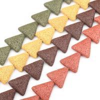 Natürliche Lava Perlen, Dreieck, keine, frei von Nickel, Blei & Kadmium, 29x29mm, 14PCs/Strang, verkauft von Strang