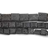 Natürliche Lava Perlen, schwarz, frei von Nickel, Blei & Kadmium, 11mm, 38PCs/Strang, verkauft von Strang
