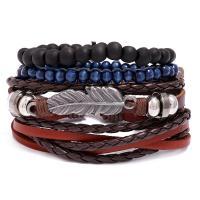 Rindsleder Armband, Kunstleder, Armband, mit Zinklegierung, plattiert, unisex, 60mm, verkauft von setzen
