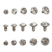 Messing Knöpfe, MetallAsphalt, mit Strass, keine, frei von Nickel, Blei & Kadmium, u811au957f4mm, 1000PCs/Tasche, verkauft von Tasche
