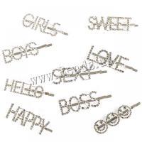 Haarschieber, Zinklegierung, plattiert, verschiedene Stile für Wahl & für Frau & mit Strass, keine, 60mm, verkauft von PC