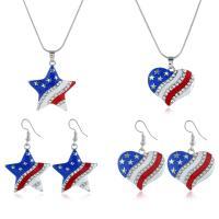 Zinklegierung Schmucksets, Ohrring & Halskette, Handy USA Flagge Muster & verschiedene Stile für Wahl & Emaille & mit Strass, 28x32mm,30x32mm, verkauft von setzen
