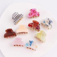 Haarklammer, Acryl, verschiedene Muster für Wahl & für Frau, keine, 40mm, 6PCs/Menge, verkauft von Menge