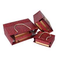 Schmuck Geschenkkarton, Papier, Kunstdruck, gemischtes Muster & verschiedene Größen vorhanden & verschiedene Stile für Wahl, rot, 10PCs/Menge, verkauft von Menge