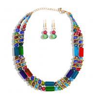 Zinklegierung Schmucksets, Ohrring & Halskette, mit Acryl, plattiert, verschiedene Stile für Wahl, keine, frei von Nickel, Blei & Kadmium, verkauft von setzen