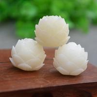 Buddhistische Perlen, Weiße Bodhi, LotusLotos, geschnitzt, weiß, frei von Nickel, Blei & Kadmium, 21mm, 2PCs/Tasche, verkauft von Tasche