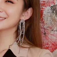 Mode-Fringe-Ohrringe, Zinklegierung, plattiert, mit Strass, keine, frei von Nickel, Blei & Kadmium, verkauft von Paar