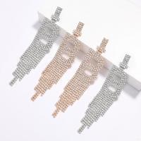 Mode-Fringe-Ohrringe, Zinklegierung, plattiert, für Frau & mit Strass, keine, frei von Nickel, Blei & Kadmium, verkauft von Paar