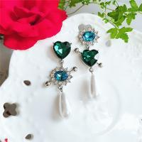 asymmetrische Ohrringe, Zinklegierung, plattiert, für Frau & mit Strass, grün, frei von Nickel, Blei & Kadmium, 60x23mm, verkauft von Paar