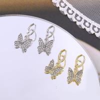 Huggie Hoop Drop Ohrringe, Messing, Schmetterling, plattiert, für Frau & mit Strass, keine, 12x26mm, 12PaarePärchen/Menge, verkauft von Menge