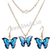 Zinklegierung Schmucksets, Ohrring & Halskette, mit Kunststoff Perlen, mit Verlängerungskettchen von 1.97 inch, Schmetterling, goldfarben plattiert, für Frau, keine, 20x30mm, Länge:ca. 14.37 ZollInch, verkauft von setzen