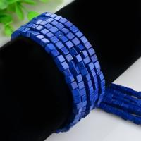 Lapislazuli Perlen, Quadrat, poliert, DIY, blau, 4x4mm, Länge:ca. 15.4 ZollInch, 2SträngeStrang/Tasche, ca. 98PCs/Strang, verkauft von Tasche