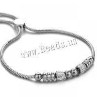 Edelstahl Schmuck Armband, plattiert, Micro pave Zirkonia & für Frau, 5mm,7mm,2mm, verkauft per ca. 7 ZollInch Strang