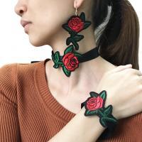 Zinklegierung Schmucksets, KragenHalsband & Armband & Ohrring, Rose, plattiert, für Frau, frei von Nickel, Blei & Kadmium, verkauft von setzen