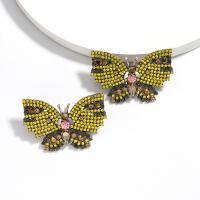 Zinklegierung Ohrstecker, Schmetterling, plattiert, mit Strass, frei von Nickel, Blei & Kadmium, verkauft von Paar