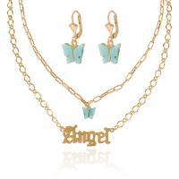 Zinklegierung Mode Schmuckset, Ohrring & Halskette, mit Acetat-Blatt, plattiert, für Frau, Goldfarbe, frei von Nickel, Blei & Kadmium, verkauft von Strang