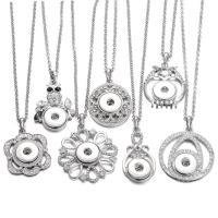 Zinklegierung Schnellknopf Halskette, plattiert, verschiedene Stile für Wahl & für Frau & mit Strass, keine, frei von Nickel, Blei & Kadmium, 50mm, verkauft von PC