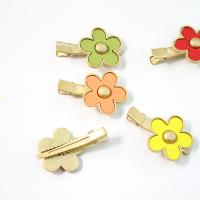 Schnabelspange, Zinklegierung, Blume, goldfarben plattiert, für Frau & Emaille, keine, frei von Nickel, Blei & Kadmium, 44.70x28mm, verkauft von PC