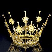 Krone, Metallisches Legieren, goldfarben plattiert, mit Strass, metallische Farbe plattiert, 100x110mm, 10PCs/Menge, verkauft von Menge