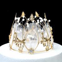 Krone, Metallisches Legieren, mit Seidenspinnerei & Kunststoff Perlen, goldfarben plattiert, mit Strass & hohl, metallische Farbe plattiert, 135x110mm, 10PCs/Menge, verkauft von Menge