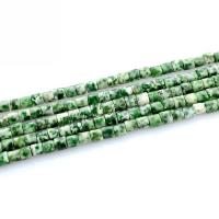 Edelstein Schmuckperlen, Naturstein, Zylinder, poliert, DIY, grün, frei von Nickel, Blei & Kadmium, 4x4mm, ca. 100PCs/Strang, verkauft per ca. 15.7 ZollInch Strang
