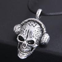 Zinklegierung Schmuck Halskette, mit PU Leder, Schädel, silberfarben plattiert, für den Menschen & Schwärzen, frei von Nickel, Blei & Kadmium, 46x30mm, verkauft per ca. 21.7 ZollInch Strang