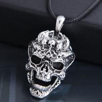Männer Halskette, Zinklegierung, mit PU Leder, Schädel, silberfarben plattiert, für den Menschen & Schwärzen, frei von Nickel, Blei & Kadmium, 50x28mm, verkauft per ca. 21.7 ZollInch Strang
