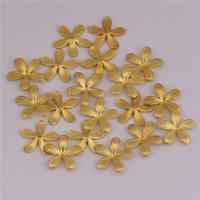 Messing Cabochon Einstellungen, Blume, DIY, originale Farbe, frei von Nickel, Blei & Kadmium, 10.50x0.50mm, 500PCs/Tasche, verkauft von Tasche