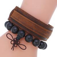 Herren-Armband & Bangle, Kunstleder, Armband, mit Eisen, plattiert, für den Menschen, 24mm, Länge:8.8 ZollInch, verkauft von setzen