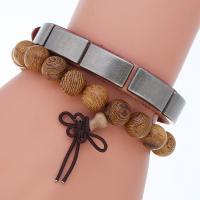 Herren-Armband & Bangle, Kunstleder, Armband, mit Zinklegierung, plattiert, für den Menschen, 11mm, Länge:9.8 ZollInch, verkauft von setzen