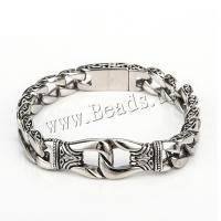 Herren-Armband & Bangle, Edelstahl, plattiert, für den Menschen, metallische Farbe plattiert, 220x11mm, verkauft per ca. 8.66 ZollInch Strang