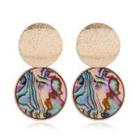 Zinklegierung Ohrringe, mit Seeohr Muschel, flache Runde, goldfarben plattiert, für Frau, frei von Nickel, Blei & Kadmium, 44x25mm, verkauft von Paar