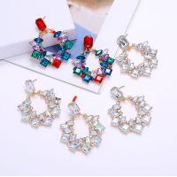 Zinklegierung Ohrringe, mit Harz, goldfarben plattiert, für Frau, keine, frei von Nickel, Blei & Kadmium, 50x47mm, verkauft von Paar