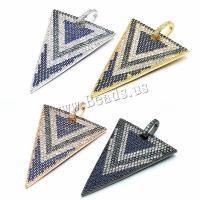 Befestigter Zirkonia Messing Anhänger, Dreieck, plattiert, mit kubischem Zirkonia, keine, 25x35mm, Bohrung:ca. 3.5mm, 10PCs/Menge, verkauft von Menge