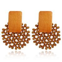 Zinklegierung Ohrringe, mit Holz, plattiert, für Frau, keine, 5PaarePärchen/Tasche, verkauft von Tasche