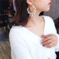 Zinklegierung Ohrringe, mit Glasperlen, goldfarben plattiert, für Frau, weiß, 62x86mm, verkauft von Paar