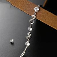 Sterling Silber Armbänder, 925er Sterling Silber, für Frau & mit Strass, Silberfarbe, 185x30mm, verkauft per 7.28 ZollInch Strang